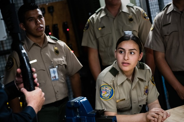 Border Patrol Explorers from Explorer Scout Post 1326, Chula Vista, Calif., visit a police station's armory at the Presidio of Monterey, Monday, July 1, 2019. The Explorers are part of a cooperative program between the Boy Scouts and U.S. Customs and Border Patrol that gives 14 to 21-years-olds a hands-on opportunity to learn about federal law enforcement.
