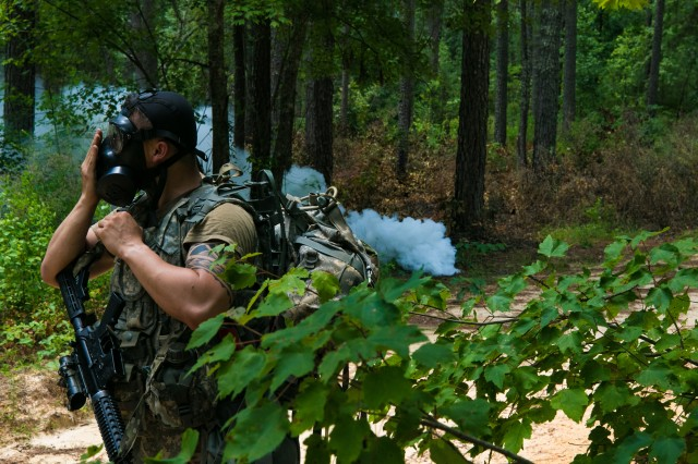 On day two, the 24 competitors competing in the 2019 XVIII Airborne Corps NCO and Soldier of the Year Competition participated in multiple situational training exercises involving tasks designed to test battle readiness and resiliency June 25, 2019 at Fort Bragg, N.C. Constantly moving and being tested all day against rugged terrain and intense heat, the Soldiers strived to prove they were mentally and physically tough enough to win the competition.