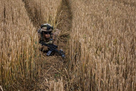 An infantryman with 1st Armored Brigade Combat Team, 1st Infantry Division, conceals himself in a wheatfield during an air assault mission at Saber Guardian 19, June 20, 2019. Exercises such as Saber Guardian 19 continue to increase participating nations' readiness and capacity to conduct full spectrum military operations. They send a clear message that the U.S. and its allies and partners work skillfully together.