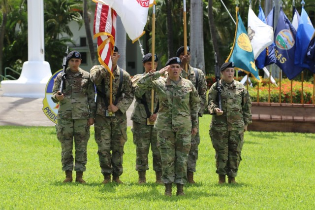 Baird leads the colors at 9th MSC Change of Command