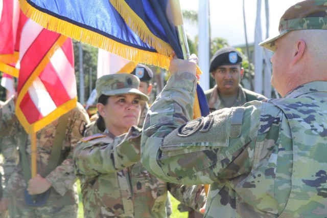 Passing the colors of the 9th Mission Support Command