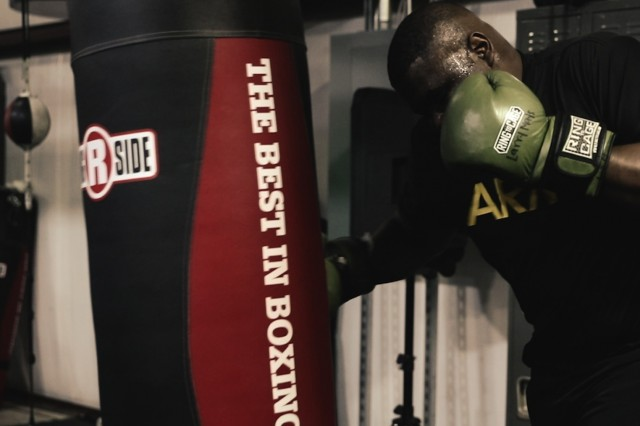 U.S. Army Sgt. Larry Mays, a unit supply noncommissioned officer assigned to 704th Brigade Support Battalion, 2nd Infantry Brigade Combat Team, 4th Infantry Division, hits a punching bag, May 11, 2019, at local boxing gym in Colorado Springs, Colo. Mays, originally from Mississippi, recently earned first place during the Colorado Golden Glove heavy weight tournament.