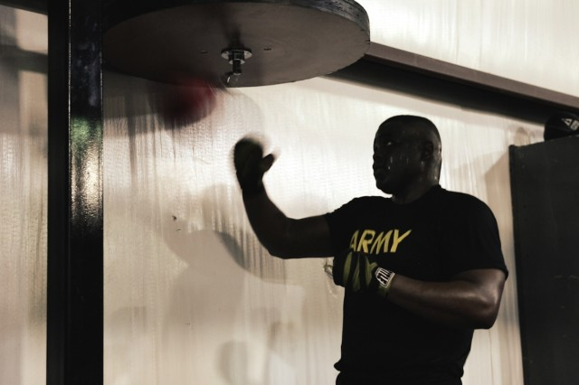 U.S. Army Sgt. Larry Mays, a unit supply noncommissioned officer assigned to 704th Brigade Support Battalion, 2nd Infantry Brigade Combat Team, 4th Infantry Division, hits a speed bag May 11, 2019, at local boxing gym in Colorado Springs, Colo. Mays, originally from Mississippi, recently earned first place during the Colorado Golden Glove heavy weight tournament.