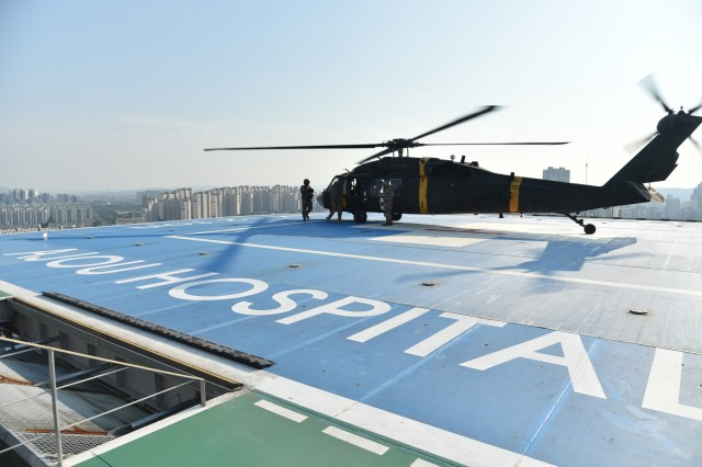 An air ambulance from the 377th Medical Company at Camp Humphreys, South Korea, readies to take off from Ajou Hospital June 25. (Courtesy photo by Jong Chan Kim)