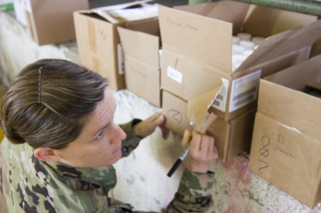 U.S. Air Force Maj. Emily Dietrich of the 75th Medical Support Squadron based in Hill Air Force Base, Utah, labels prescription boxes as part of a medical readiness training exercise during exercise Beyond the Horizon. Beyond the Horizon is a joint annual training exercise that combines medical, dental, veterinary and engineering missions to improve the operational readiness of U.S. Forces and reinforce regional stability and interoperability with allied forces, resulting in tangible benefits to the people of Guatemala.