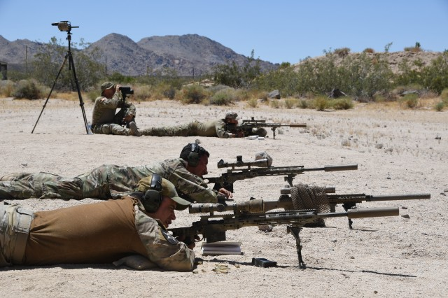 Cal Guard snipers from the 1-160th and 1-184th Infantry Battalions hone their skills on the sniper range at Fort Irwin on June 23 during Annual Training 2019.