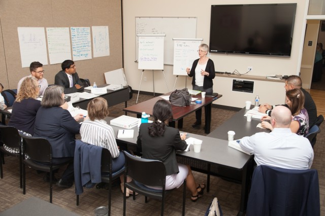 Members of the U.S. Army Corps of Engineers South Pacific Division take part in a leadership development training in Salt Lake City, Utah, June 25, 2019. Senior military and civilian leaders from the division gathered there for a fourth-quarter fiscal year 2019 in-progress review of the division's current and future civil works and military construction projects. During the 4-day event, some attendees also visited recent high-profile military construction projects at Hill Air Force Base, and attended a Salt Lake Bees baseball game where division commander, Brig. Gen. Kim Colloton, threw the game's first pitch. The AAA minor league team recognized Colloton and the achievements of the division.  (U.S. Army photo by Ken Wright)