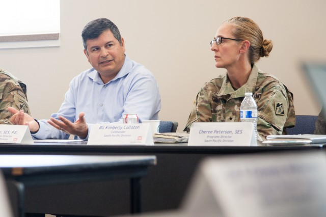 John Moreno, U.S. Army Corps of Engineers South Pacific Division small business director, discusses current and future civil works and military construction projects with senior military and civilian leaders from the division during a regional meeting in Salt Lake City, Utah, June 24, 2019. The leaders gathered for a fourth-quarter fiscal year 2019 in-progress review of the innovative work USACE is accomplishing to help America prepare for the future. (U.S. Army photo by Ken Wright)