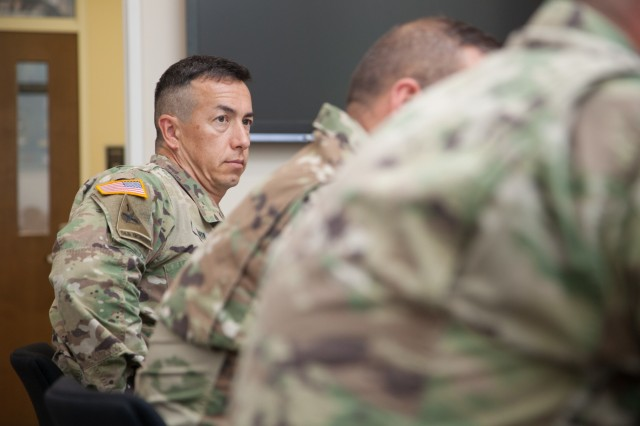 Col. Aaron Barta, U.S. Army Corps of Engineers Los Angeles District commander, takes part in a discussion about the division's current and future civil works and military construction projects during a regional meeting in Salt Lake City, Utah, June 24, 2019. Barta and other senior military and civilian leaders from the division met for a fourth-quarter fiscal year 2019 in-progress review of the innovative work USACE is accomplishing to help America prepare for the future. (U.S. Army photo by Ken Wright)