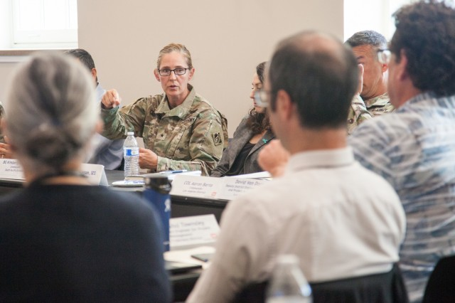Brig. Gen. Kim Colloton, U.S. Army Corps of Engineers South Pacific Division commander, and senior military and civilian leaders from the division discuss current and future civil works and military construction projects during a regional meeting in Salt Lake City, Utah, June 24, 2019. The leaders gathered for a fourth-quarter fiscal year 2019 in-progress review of the innovative work USACE is accomplishing to help America prepare for the future. (U.S. Army photo by Ken Wright)