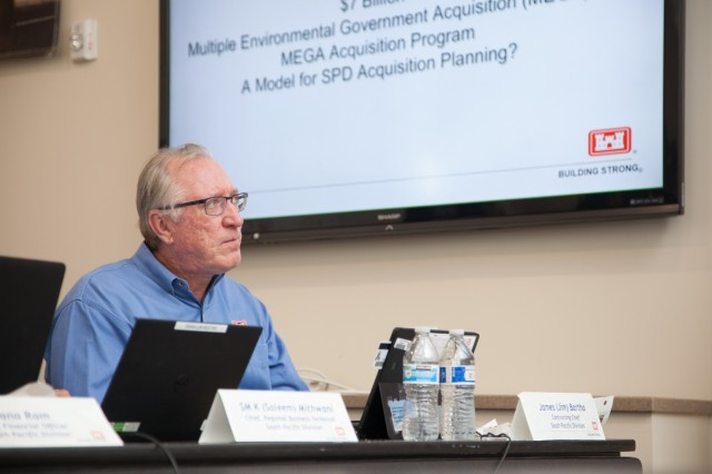 Jim Bartha, U.S. Army Corps of Engineers South Pacific Division contracting chief, takes part in a discussion about the division's current and future civil works and military construction projects during a regional meeting in Salt Lake City, Utah, June 24, 2019. Bartha and other senior military and civilian leaders from the division met for a fourth-quarter fiscal year 2019 in-progress review of the innovative work USACE is accomplishing to help America prepare for the future. (U.S. Army photo by Ken Wright)