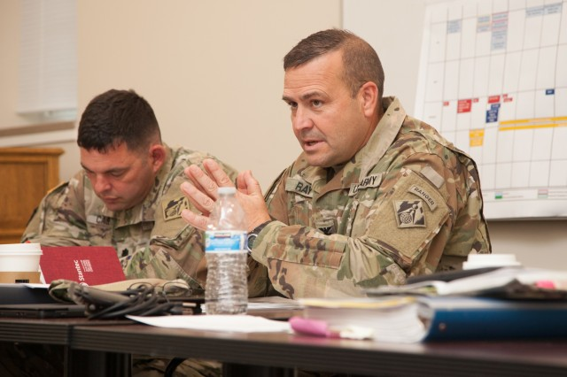 Col. David Ray, U.S. Army Corps of Engineers Sacramento District commander, discusses current and future civil works and military construction projects with senior military and civilian leaders from the USACE South Pacific Division during a regional meeting in Salt Lake City, Utah, June 24, 2019. The leaders gathered for a fourth-quarter fiscal year 2019 in-progress review of the innovative work USACE is accomplishing to help America prepare for the future. (U.S. Army photo by Ken Wright)