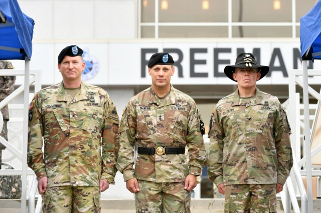 Maj. Gen. D. Scott McKean, Commander of 2nd Infantry Division/ Republic of Korea-U.S. Combined Division, Col. Marc Cloutier, Commander of Commander of 3rd Armored Brigade Combat Team, 1st Armored Division, and Col. Kevin Capra Commander of the 3rd Armored Brigade Combat Team, 1st Cavalry Division, conducted the Transfer of Authority ceremony on Camp Humphreys, Republic of Korea June 11.U.S Army photos by Mr. Pak, Chin-U, 2nd Infantry Division/ROK-U.S. Combined Division Public Affairs Office
