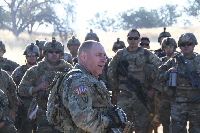79th Infantry Brigade Combat Team (IBCT) Commander Col. Richard Mifsud speaks to Soldiers from the 1-160th Infantry Battalion at Camp Roberts on June 18 during Annual Training 2019. Col. Mifsud asked the Soldiers to consider re-enlisting in the Cal Guard so they can utilize the experience and skills they have acquired in the Battalion to continue serving and protecting their state and nation, as well as mentor the next generation of Soldiers.