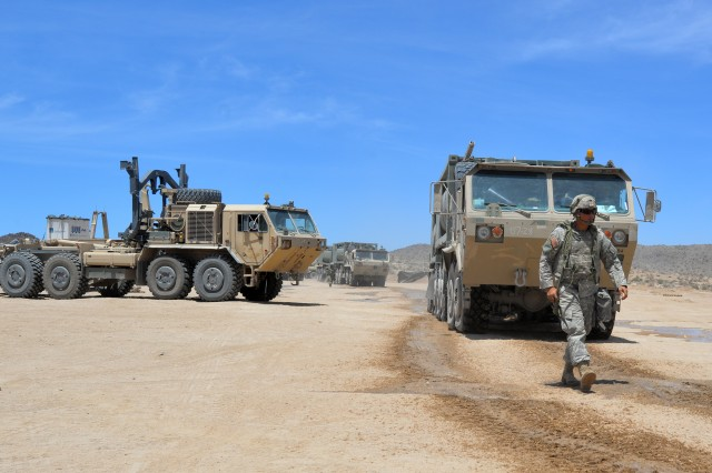 Soldiers of the North Carolina National Guard's 630th Combat Sustainment Support Battalion, 113th Sustainment Brigade prepare for supply convoy duty supporting the NCNG's 30th Armored Brigade Combat Team (ABCT) at the National Training Center (NTC), Fort Irwin, California, July 9, 2019. The 30th ABCT Soldiers deployed for Operation Hickory Sting to the NTC for the best, most current combat training available in the U.S. Army preparing them for deployment overseas later this fall.