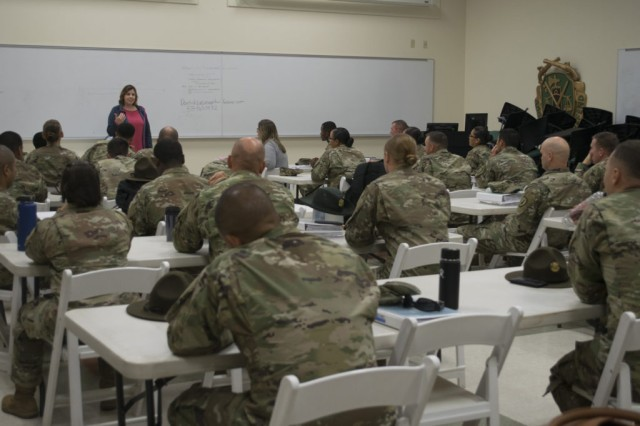 Soldiers participate in the Master Resilience Trainer Course, or MRT-C, at the R2 Performance Center June 28.