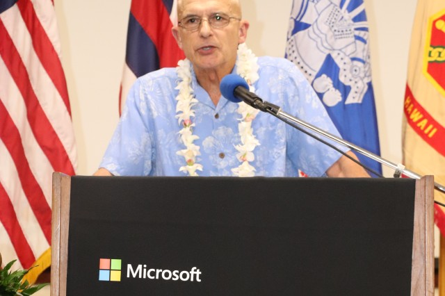 Retired Marine Corps Maj. Gen. Chris Cortez, vice president of Microsoft Military Affairs, speaks to cohorts and an audience gathered for the official opening of the Microsoft Software & Systems Academy, or MSSA, at Schofield Barracks, July 10, 2019.