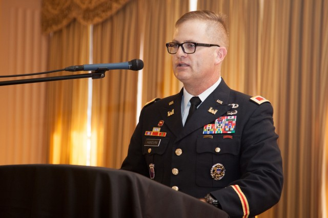 Col. James Handura, U.S. Army Corps of Engineers Sacramento District commander, speaks to more than 400 district employees, Soldiers and guests during a July 11, 2019, change of command ceremony at the Masonic Temple in downtown Sacramento, Calif. Brig. Gen. Kim Colloton, South Pacific Division commander, presided over the ceremony where Handura became the district's 33rd commander in its 90-year history. Handura has been a military engineer for 30 years, beginning his Army career as an enlisted combat engineer in 1989. He now commands the nearly 1,100-person strong Sacramento District, which stretches from southern California to western Colorado, and includes three of USACE's five largest U.S. projects. (U.S. Army photo by Ken Wright)