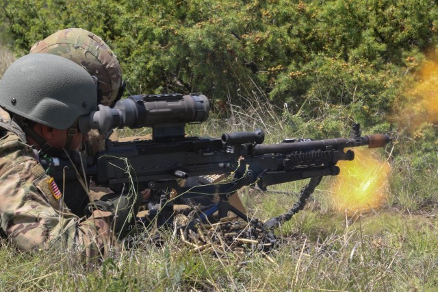 Soldiers from Bravo Company, 1st Battalion, 111th Infantry, 56th Stryker Brigade Combat Team conducts a company live fire rehearsal during Exercise Decisive Strike 2019 at the Training Support Centre, Krivolak, North Macedonia, June 8, 2019. Living and training alongside our allies in Europe helps the U.S. maintain the relationships and trust are essential for ensuring global security.