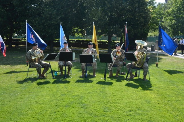 A USAREUR Band brass quintet provides music during the USAG Stuttgart change of command ceremony, July 10, 2019.