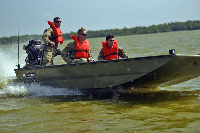 Louisiana National Guardsmen conduct training on 10 newly fielded surface-driven boats in New Iberia, Louisiana, July 11, 2019. The new boats can run in much shallower water than those with conventional outboard motors, are designed to allow wheelchair access and can fit two gurneys on board.