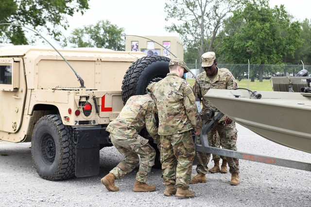 Soldiers with the 769th Brigade Engineer Battalion conduct inspections and test high-water vehicles, flat bottom boats and boating equipment in preparation for the state activation in support of Tropical Storm Barry, July 10, 2019, at the Armed Forces Reserve Center, Baton Rouge, La. Louisiana's Guardsmen are trained, ready and equipped to stand up at any moment to protect lives and property, maintain communications, and ensure the continuity of operations and government.