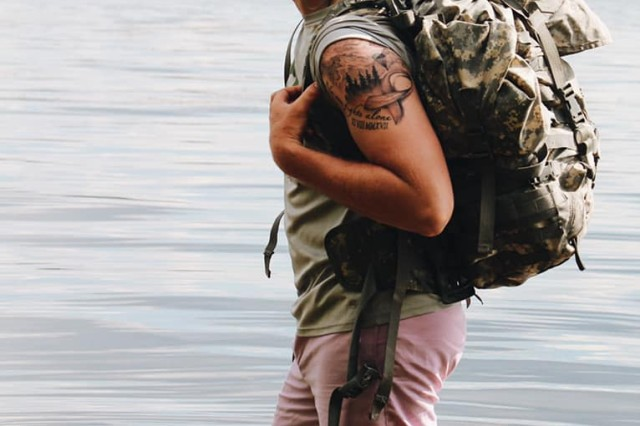 """Specialist Shayn Lindquist, 414th Civil Affairs Battalion, recently completed a 150-mile ruck march to raise money for pediatric cancer. His organization, """"Ruck for a Cure"""" raised more than $3000 in donations. Lindquist organized the event after beating cancer."""