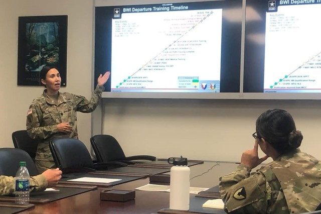 Lt. Col. Jessica Perritte briefs 418th Contracting Support Brigade members during a preperation meeting for an upcoming deployment. Perritte is part of a team that was tested during last month's validation exercise at Fort Hood, Texas. She is the brigade's operations officer.