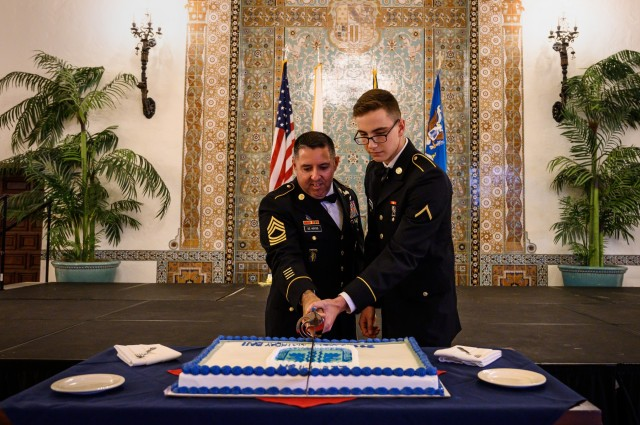 Monterey-based Soldiers celebrate Army birthday, cut cake, dance