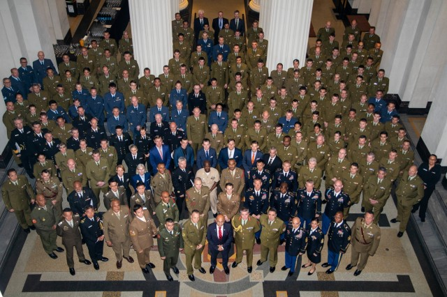 Senior enlisted leaders from U.S. Army Pacific and eight regional and partner nations take a group photo July 7 at the Auckland War Memorial Museum in Auckland, New Zealand. These senior enlisted leaders attended the first New Zealand Army Senior Enlisted Leader's conference that occurs biennially.