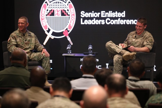 U.S. Sgt. Maj. of the Army designee Michael A. Grinston and New Zealand Army Sgt. Thomas Grant, New Zealand Soldier of the year, sit on a panel July 10 in Auckland, New Zealand. Grant interviewed Grinston on professional development, personal insights and life advice.