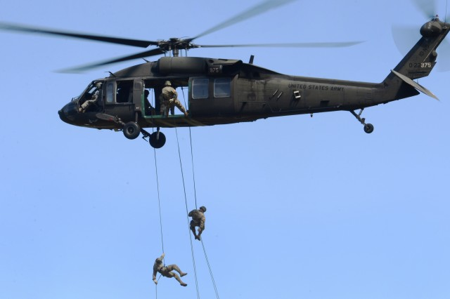 Army Soldiers take part in the rappelling portion of Air Assault School at Camp Rilea, Warrenton, Oregon, June 27, 2019.