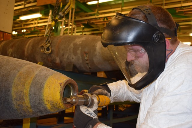 Crane Army renovates MK84 bombs by replacing degraded thermal coating. This saves valuable taxpayer dollars and ensures Warfighters always have quality munitions. Crane Army specializes in conventional munitions support for U.S. Army and Joint Force readiness, including storage, quality control, shipment preparation, distribution, production and demilitarization.