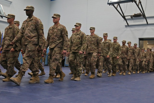 Around 200 Soldiers assigned to 2nd Brigade Combat Team, 10th Mountain Division were reunited with their Families during the Commando brigade's second Welcome Home ceremony following a nine month deployment, July 15, 2019, at Fort Drum, New York. Last fall around 2,000 Soldiers from 2BCT deployed to Kosovo and Afghanistan in support of an ongoing North Atlantic Treaty Organization peacekeeping mission and Operation Resolute Support. (U.S. Army photo by Staff Sgt. Paige Behringer)