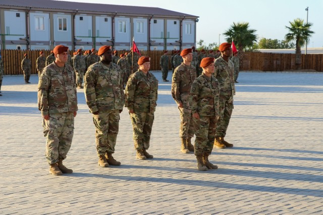 Soldiers of Task Force Sinai (TFS) stand in formation during a change of command ceremony at South Camp, Egypt, July 15, 2019. U.S. Army Maj. Gen. John P. Sullivan, commander of the 1st Theater Sustainment Command (1st TSC), visited Soldiers of TFS during his first visit to the Multinational Force and Observers since taking command of 1st TSC. (U.S. Army photo by Staff Sgt. Kulani J. Lakanaria)