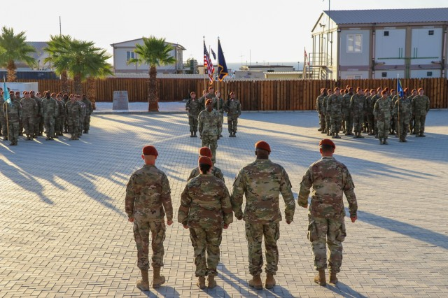 Soldiers of Task Force Sinai (TFS) stand in formation for a change of command ceremony at South Camp, Egypt, July 15, 2019. U.S. Army Col. Mark P. Ott relinquished command of TFS to Col. Robert J. Duchaine at a change command ceremony hosted by Maj. Gen. John P. Sullivan, commander of 1st Theater Sustainment Command. (U.S. Army photo by Staff Sgt. Kulani J. Lakanaria)