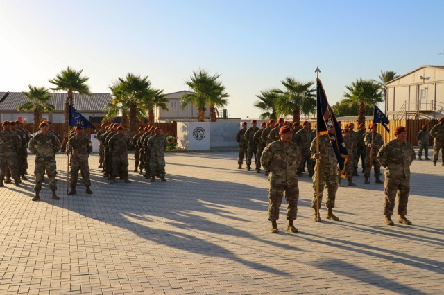 Soldiers of U.S. Battalion 66 (USBATT 66) stand in formation for the Task Force Sinai change of command ceremony at South Camp, Sinai, Egypt, July 15, 2019. USBATT 66 is comprised of Soldiers from 1st Battalion, 294th Infantry Regiment, Guam Army National Guard. (U.S. Army photo by Staff Sgt. Kulani J. Lakanaria)