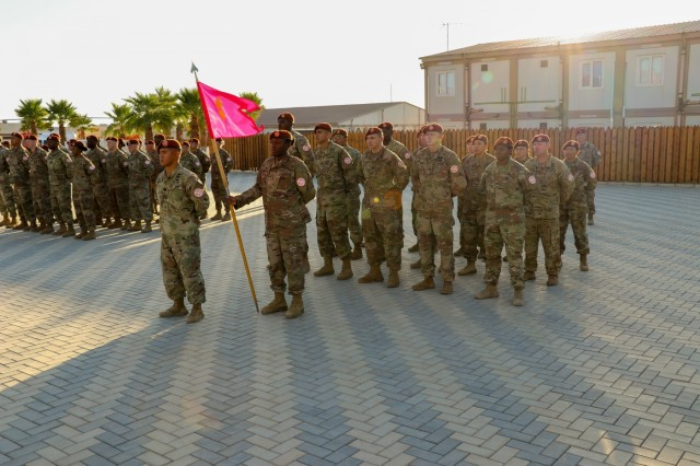 Soldiers of the Explosive Ordinance Disposal (EOD) Detachment and Task Force Sinai stand in formation during the change of command at South Camp, Sinai, Egypt, July 15, 2019. The EOD Detachment provides support to the entire Multinational Force & Observers (MFO). Detachment members not only react to the many mines and other unexploded ordnance left in the Sinai from earlier wars, they also train newly arrived MFO personnel on the recognition of hazardous ordnance and safe procedures to follow if found. (U.S. Army photo by Staff Sgt. Kulani J. Lakanaria)