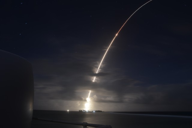 An intercontinental ballistic missile target launches from the Ronald Reagan Ballistic Missile Defense Test Site in the Marshall Islands, March 25, 2019. It was successfully intercepted by two long-range, ground-based interceptors launched from Vandenberg Air Force Base, Calif.
