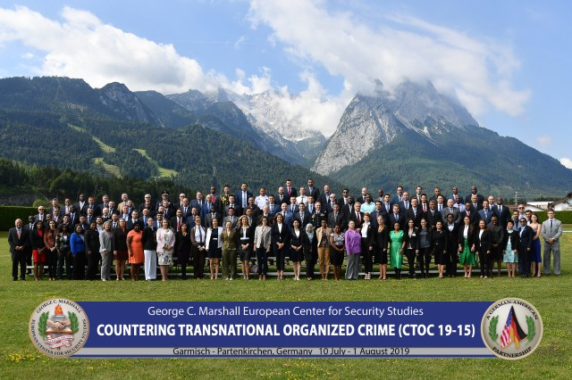 GARMISCH-PARTENKIRCHEN, Germany -- More than 100 law enforcement and government professionals from 53 nations are investigating how to fight a growing threat to national security during the Countering Transnational Organized Crime program at the George C. Marshall European Center for Security Studies here from July 10 to Aug. 1. (DOD photo by Karl-Heinz Wedhorn/RELEASED)