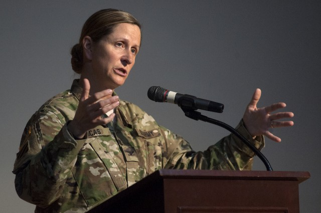 Col. Nicole Lucas, Joint Base Lewis-McChord Garrison commander, addresses the audience during a JBLM Women's Equality Day event at Carey Theater on Lewis Main Aug. 24, 2017.