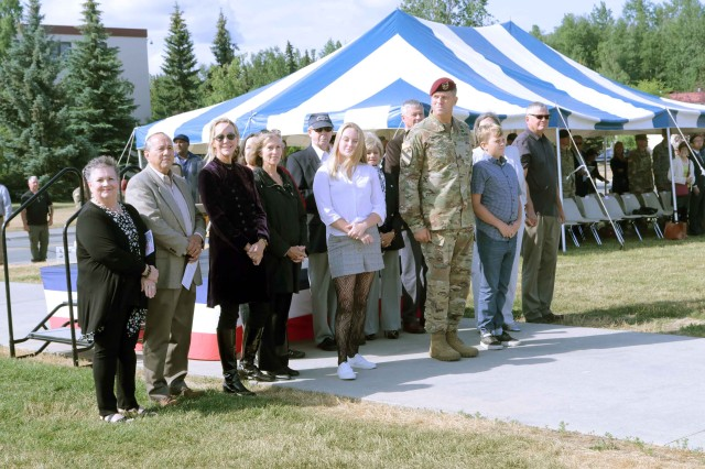 Maj. Gen. Peter Andrysiak, U.S. Army Alaska commander, poses with his family after the USARAK change of command ceremony on Pershing Field July 16.