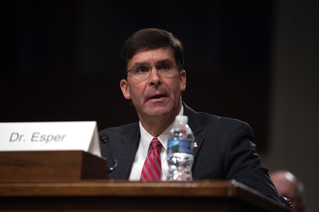 Army Secretary Dr. Mark T. Esper answers questions from members of the Senate Armed Services Committee during the confirmation hearing on his nomination to serve as secretary of defense, July 16, 2019.