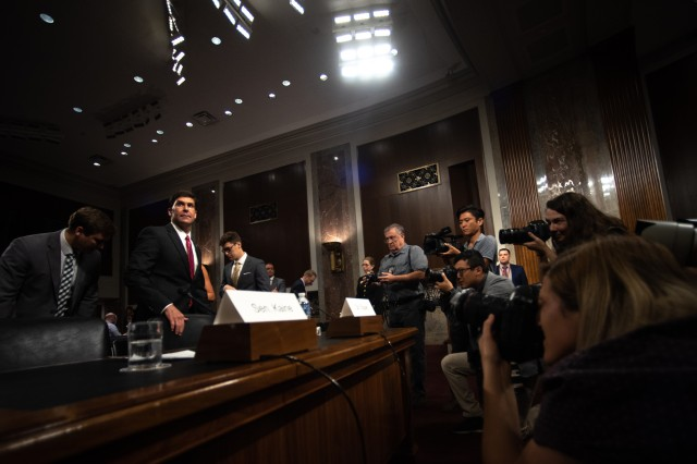 Army Secretary Dr. Mark T. Esper enters the room before the Senate Armed Services Committee's confirmation hearing on his nomination to serve as secretary of defense, July 16, 2019.