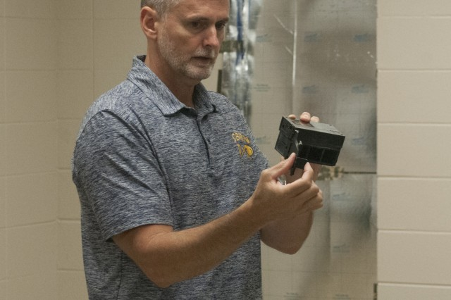 Members of 2-263rd Air Defense Artillery Battalion (ADA BN), South Carolina National Guard, participated in an International Joint Force assessment of the first generation Chemical Agent Detector Colorimetric Reader (CADCoR) prototype, Clemson, South Carolina, July 13, 2019. Feedback from the Soldiers will be used to evaluate, improve and assess the CADCoR in determining calorimetric responses.