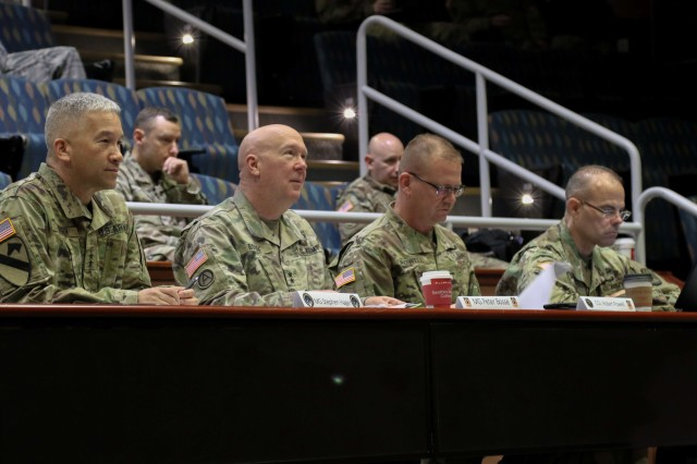 (Left to Right) U.S. Army Maj. Gen. Stephen Hager, deputy commander operations, U.S. Cyber Command, National Mission Force, Maj. Gen. Peter A. Bosse, commanding general, 335th Signal Command (Theater), Col. Robert S. Powell, Jr., commander Army Reserve Cyber Operations Group (ARCOG), 335th SC(T), and Command Sgt. Maj. Timothy Eddy, ARCOG senior enlisted adviser, observe teams giving an analysis brief on the last day of Cyber X-Games 2019, June 16 at Moffett Field, California. The annual cyber training event sponsored by the ARCOG was hosted this year by the 63rd Readiness Division, June 7-16. This year's competition exercise focused on the protection of Department of Defense assets through joint force collaboration and welcomed multinational partners to observe how the U.S. Army Reserve Cyber Force plans and trains.