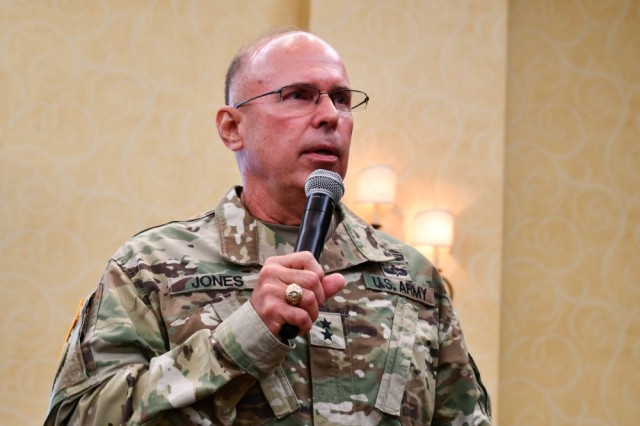 Maj. Gen. Kenneth D. Jones, commanding general, 81st Readiness Division, addresses a group of mobilizing or recently deployed U.S. Army Reserve Soldiers and their Families at a Yellow Ribbon Program event, June 14-16, 2019 near Orlando, Fla. Hosted by the 81st Readiness Division, the Yellow Ribbon Program provides Soldiers and Families classes, workshops, panels and presentations that highlight the numerous organizations and programs provided to support Soldiers and their Families throughout the deployment process and return to civilian life.