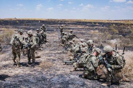 Soldiers assigned to the 101st Airborne Division clear their weapons after ending a live fire exercise on Qayyarah West Airfield, Iraq, June 19, 2019. Soldiers participated in a platoon live-fire exercise to maintain their combat skills. The coalition remains united and determined in its mission to degrade and defeat Daesh and continues to work with allies and partners to implement stabilization efforts.