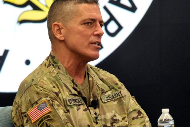 Lt. Gen. Paul Ostrowski, principal military deputy to the assistant secretary of the Army (acquisition, logistics and technology) and the director of the Army Acquisition Corps, speaks about Army modernization during an Association of the Army breakfast July 16 in Washington.