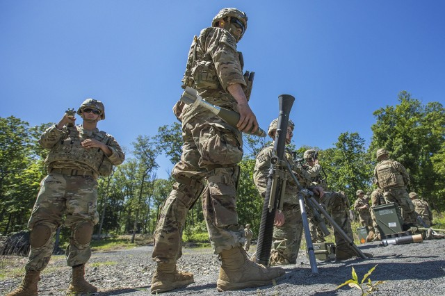 3rd Infantry Division mortarmen participate in a combined-arms live-fire exercise (CALFEX) at West Point, New York, June 11, 2019. The annual summer training exercise teaches cadets maneuver tactics within a combat environment. (U.S. Army photo by Matthew Moeller)